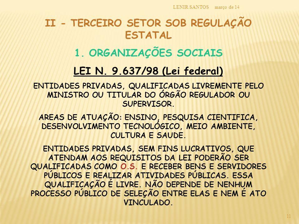 II - TERCEIRO SETOR SOB REGULAÇÃO ESTATAL