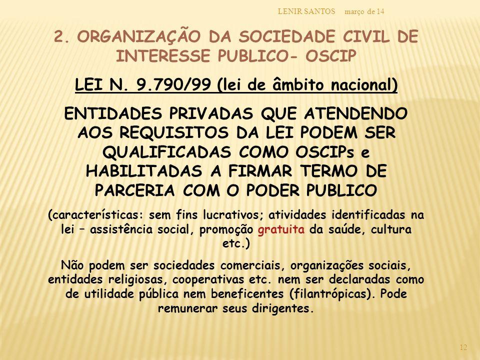 2. ORGANIZAÇÃO DA SOCIEDADE CIVIL DE INTERESSE PUBLICO- OSCIP
