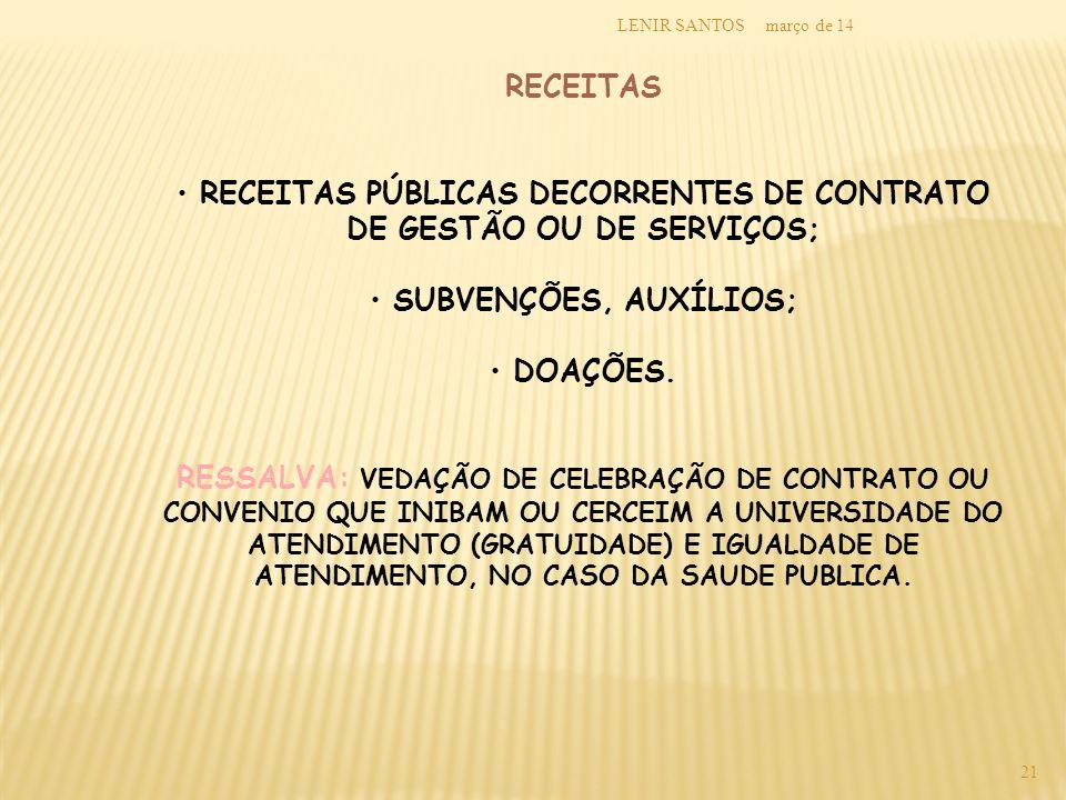 RECEITAS PÚBLICAS DECORRENTES DE CONTRATO DE GESTÃO OU DE SERVIÇOS;