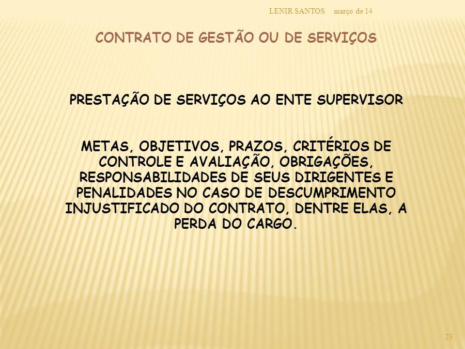 CONTRATO DE GESTÃO OU DE SERVIÇOS