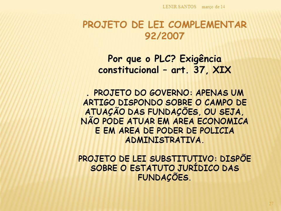 PROJETO DE LEI COMPLEMENTAR 92/2007