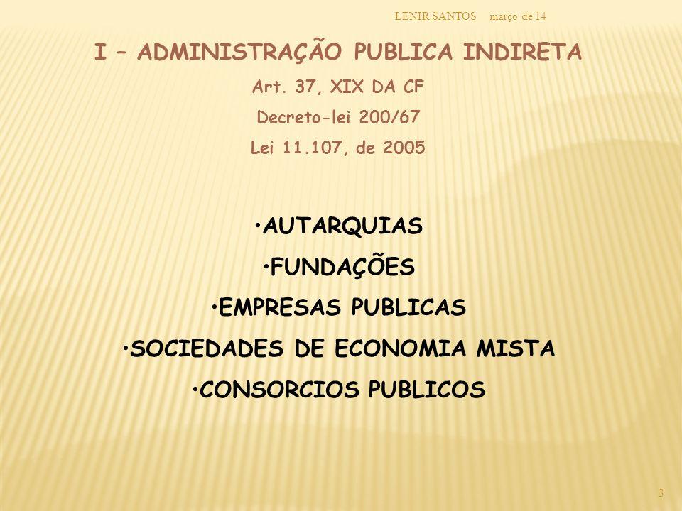 I – ADMINISTRAÇÃO PUBLICA INDIRETA SOCIEDADES DE ECONOMIA MISTA