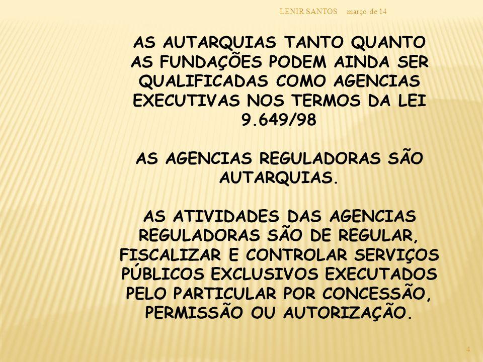 AS AGENCIAS REGULADORAS SÃO AUTARQUIAS.