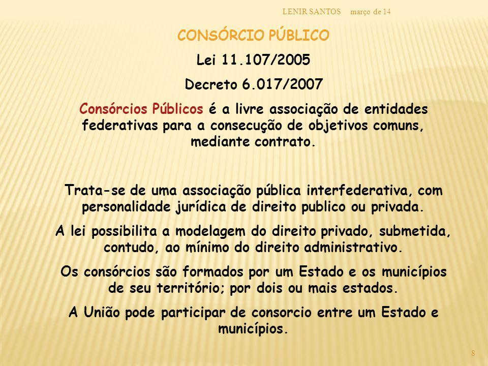 A União pode participar de consorcio entre um Estado e municípios.