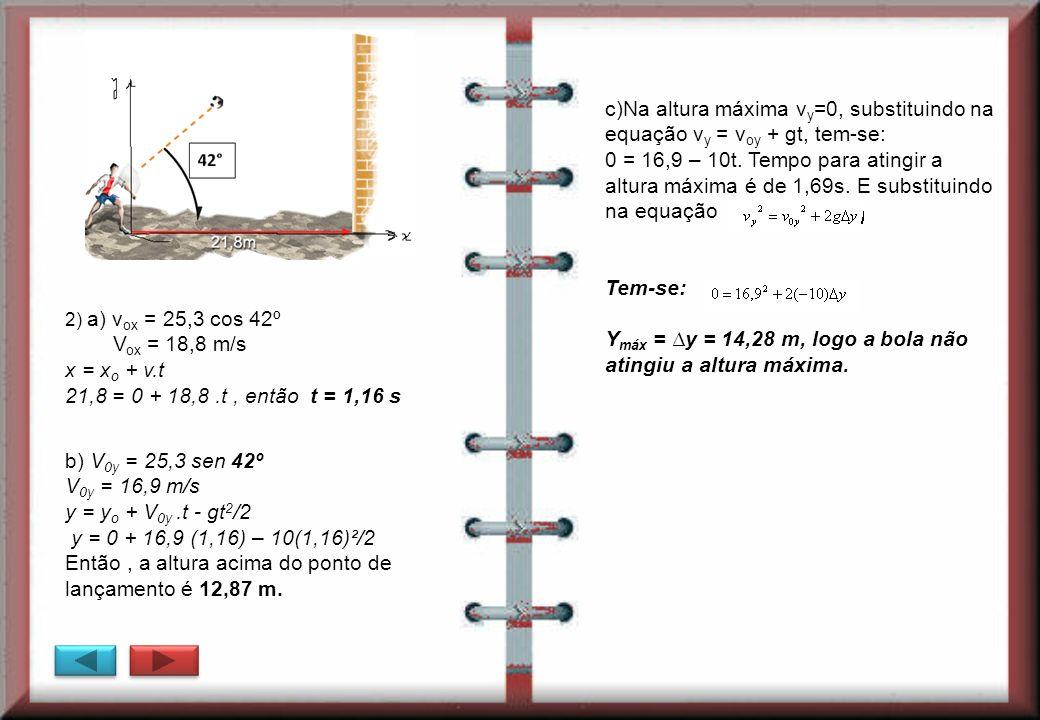 Ymáx = ∆y = 14,28 m, logo a bola não atingiu a altura máxima.