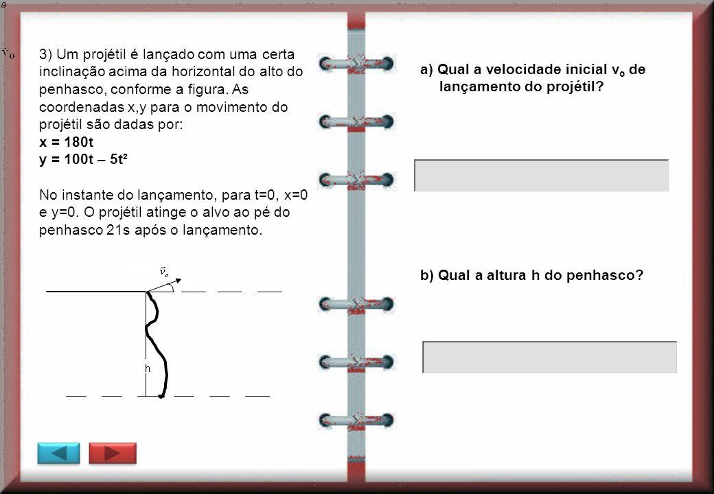 a) Qual a velocidade inicial vo de lançamento do projétil