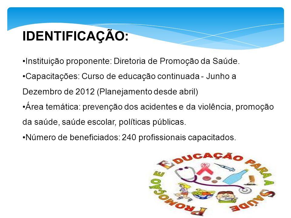 IDENTIFICAÇÃO: Instituição proponente: Diretoria de Promoção da Saúde.