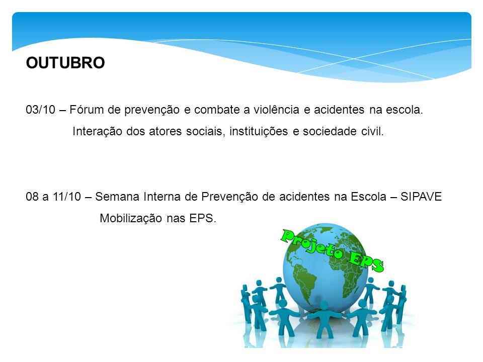 OUTUBRO 03/10 – Fórum de prevenção e combate a violência e acidentes na escola. Interação dos atores sociais, instituições e sociedade civil.