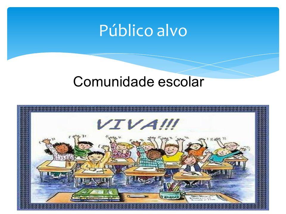 Público alvo Comunidade escolar