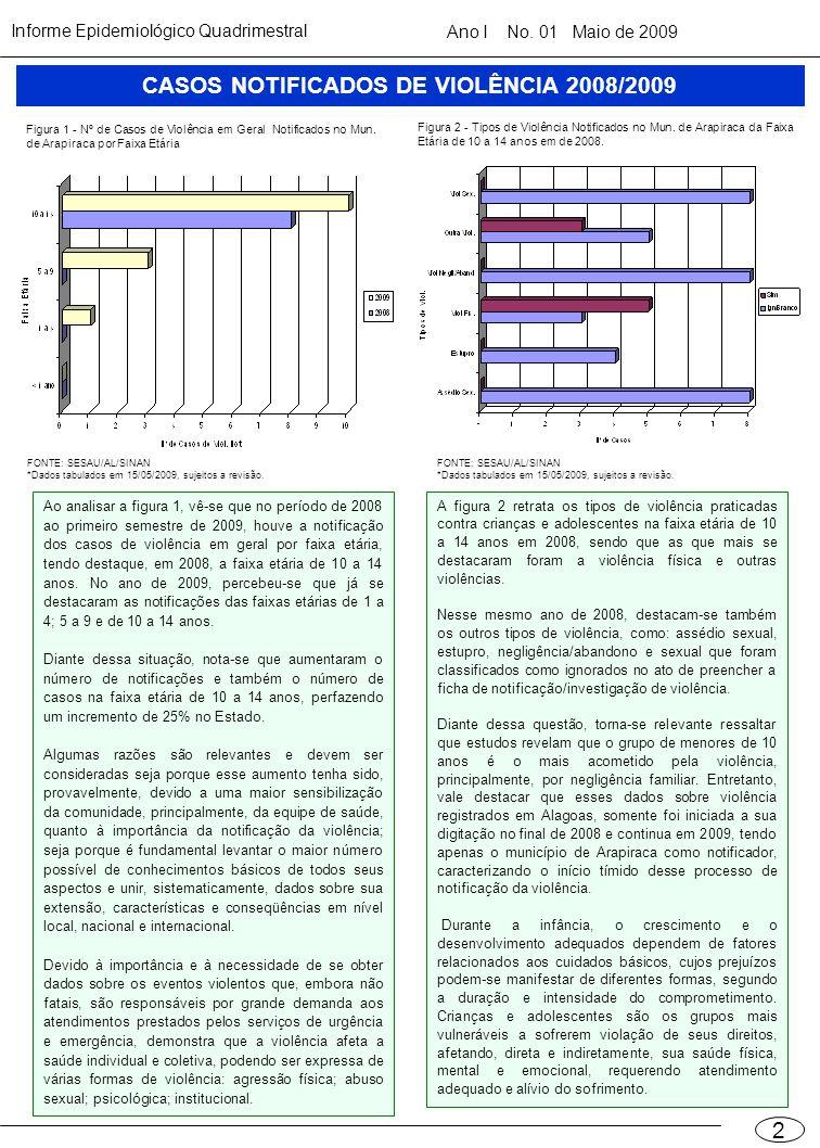 CASOS NOTIFICADOS DE VIOLÊNCIA 2008/2009
