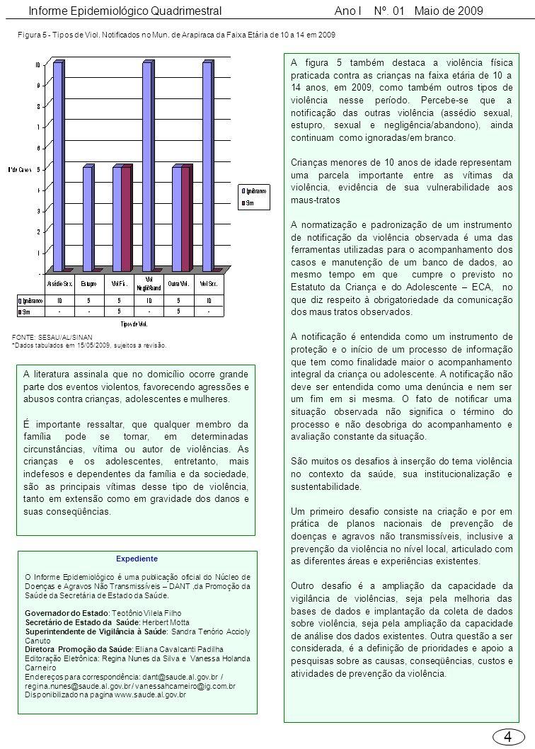 4 Informe Epidemiológico Quadrimestral Ano I Nº. 01 Maio de 2009