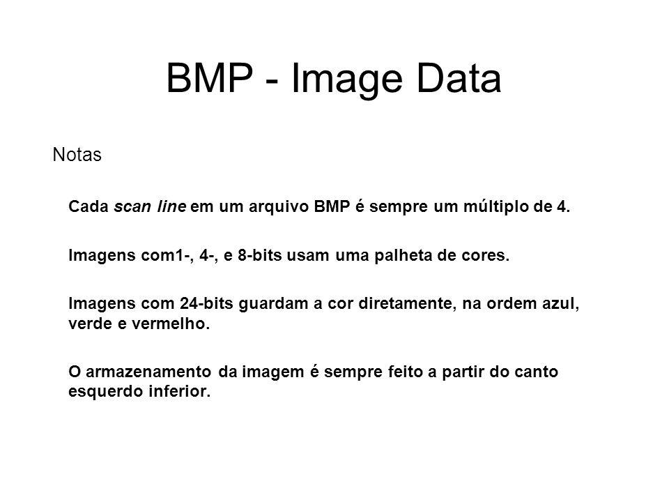 BMP - Image Data Notas. Cada scan line em um arquivo BMP é sempre um múltiplo de 4. Imagens com1-, 4-, e 8-bits usam uma palheta de cores.