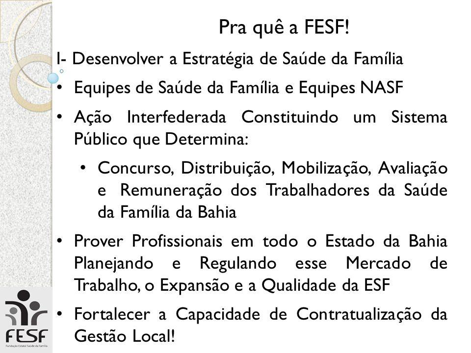 Pra quê a FESF! I- Desenvolver a Estratégia de Saúde da Família