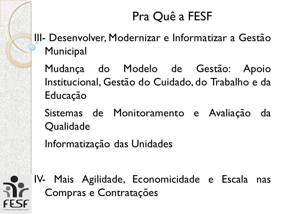Pra Quê a FESF III- Desenvolver, Modernizar e Informatizar a Gestão Municipal.