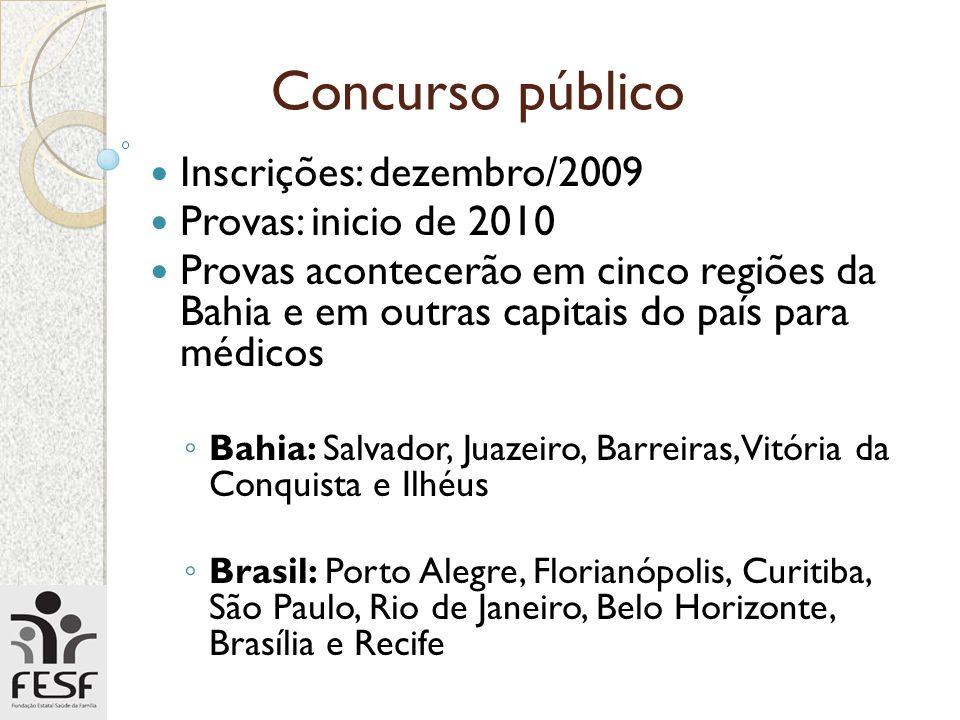 Concurso público Inscrições: dezembro/2009 Provas: inicio de 2010