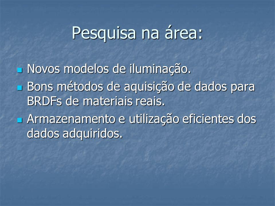 Pesquisa na área: Novos modelos de iluminação.