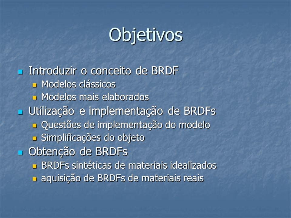 Objetivos Introduzir o conceito de BRDF