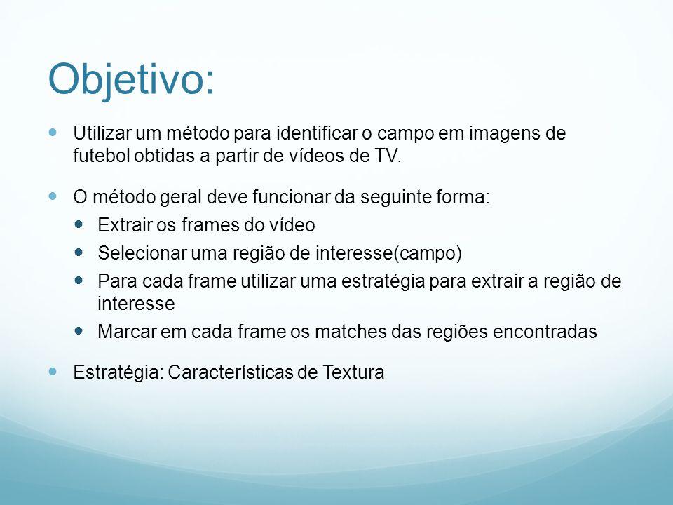 Objetivo:Utilizar um método para identificar o campo em imagens de futebol obtidas a partir de vídeos de TV.