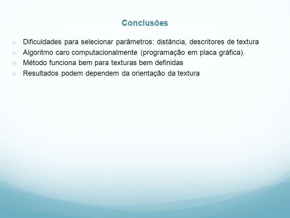 Conclusões Dificuldades para selecionar parâmetros: distância, descritores de textura.