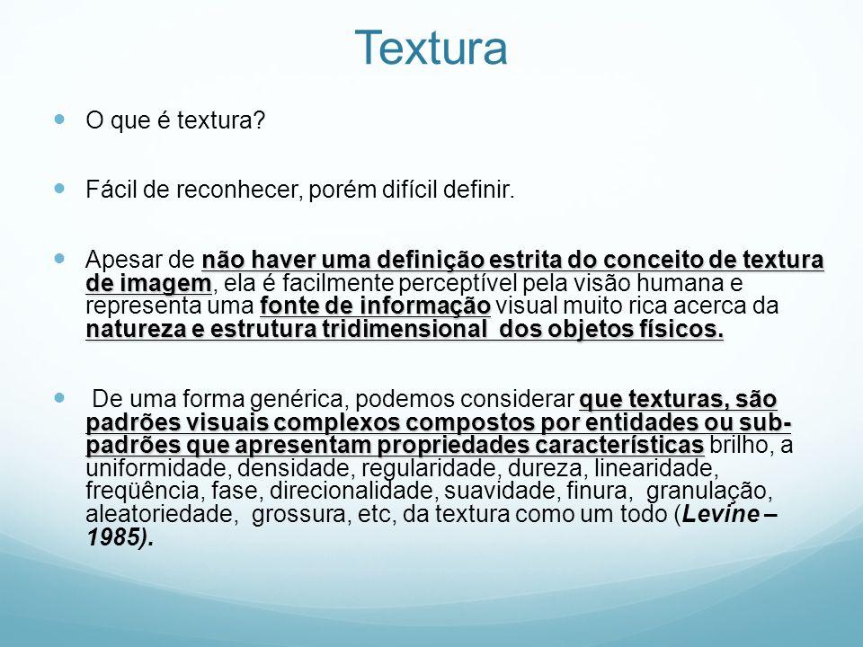Textura O que é textura Fácil de reconhecer, porém difícil definir.
