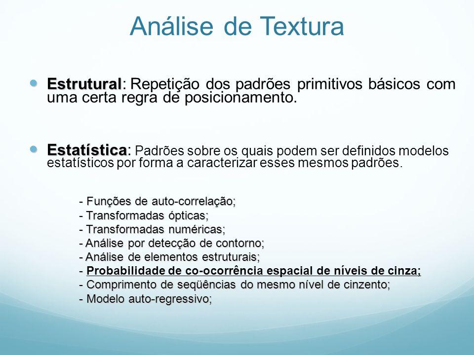 Análise de TexturaEstrutural: Repetição dos padrões primitivos básicos com uma certa regra de posicionamento.