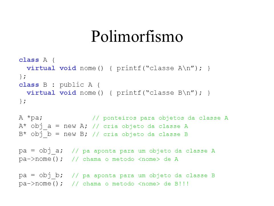 Polimorfismo class A { virtual void nome() { printf( classe A\n ); }