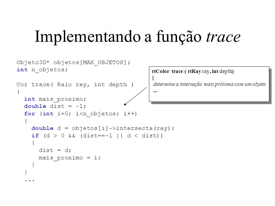 Implementando a função trace