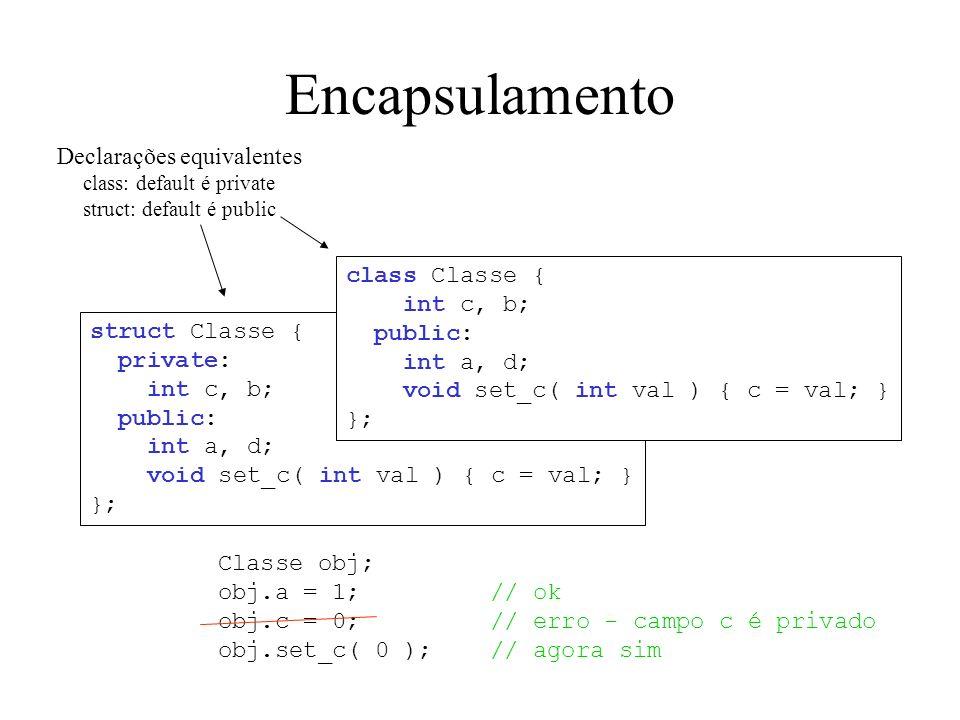 Encapsulamento Declarações equivalentes class Classe { int c, b;
