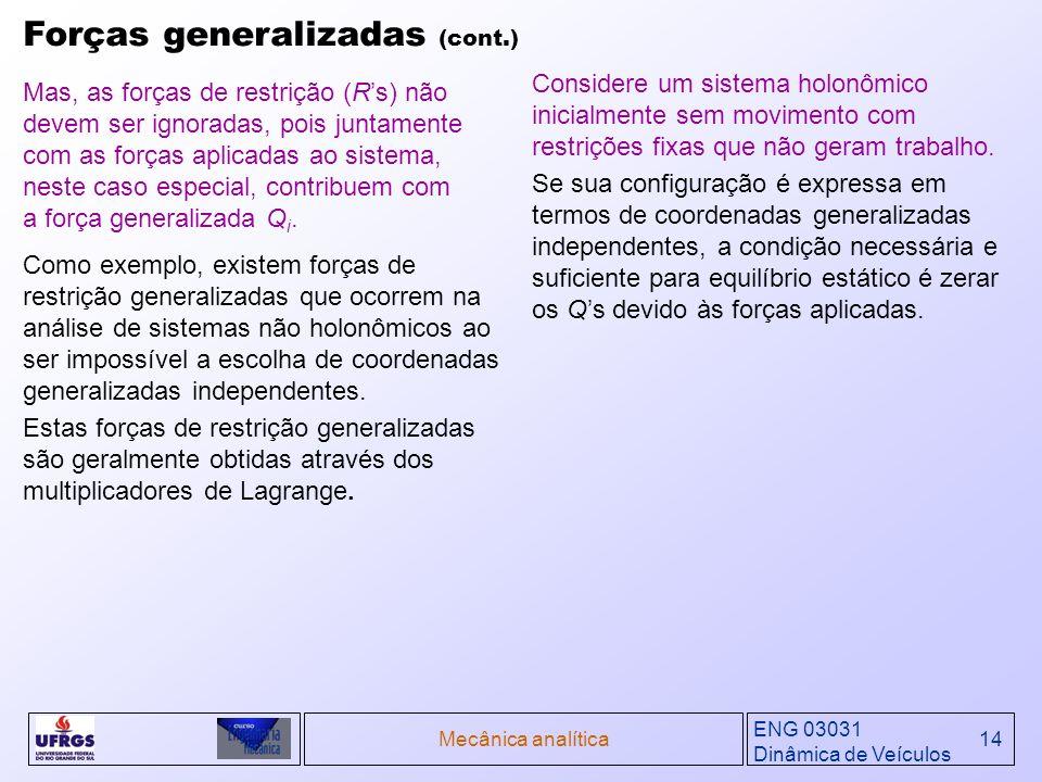 Forças generalizadas (cont.)