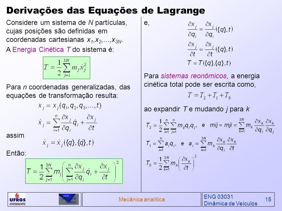 Derivações das Equações de Lagrange