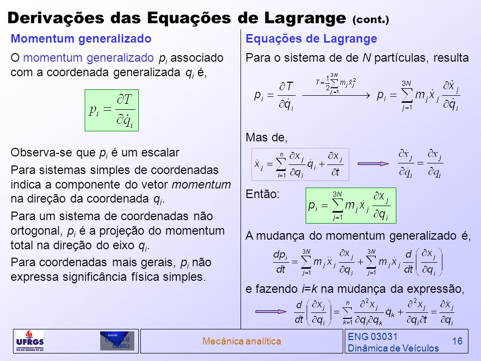 Derivações das Equações de Lagrange (cont.)