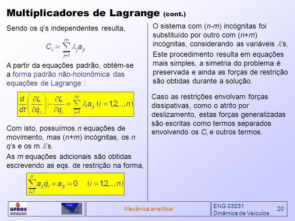 Multiplicadores de Lagrange (cont.)