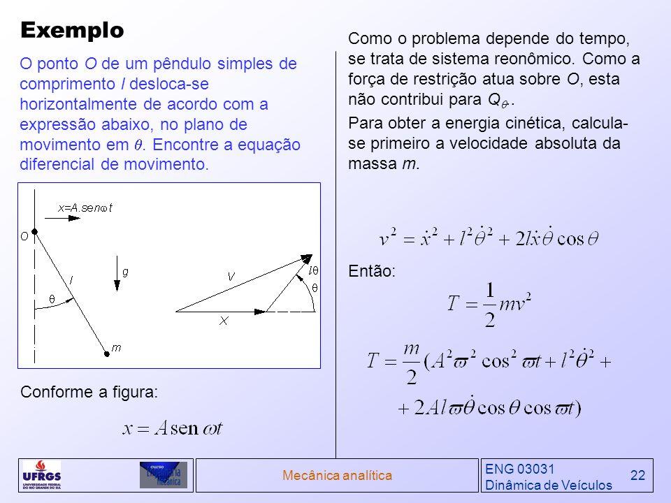 Exemplo Como o problema depende do tempo, se trata de sistema reonômico. Como a força de restrição atua sobre O, esta não contribui para Q..