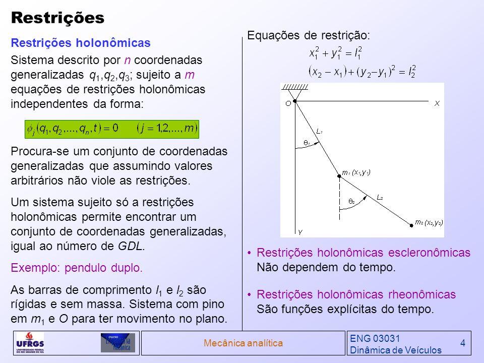 Restrições Equações de restrição: Restrições holonômicas