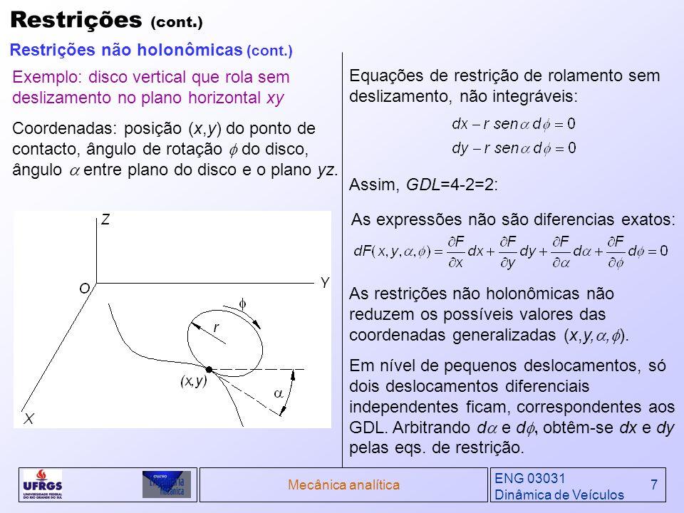Restrições (cont.) Restrições não holonômicas (cont.)