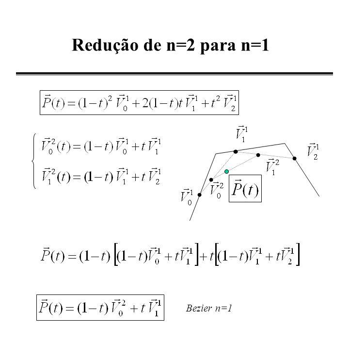Redução de n=2 para n=1 Bezier n=1