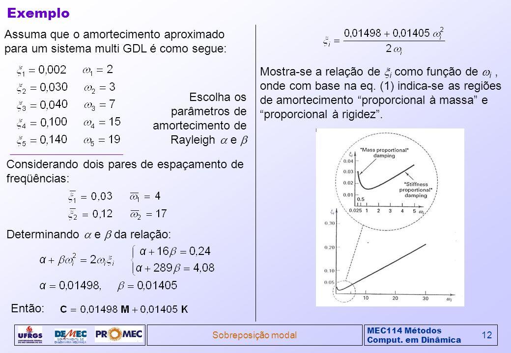 Exemplo Assuma que o amortecimento aproximado para um sistema multi GDL é como segue: