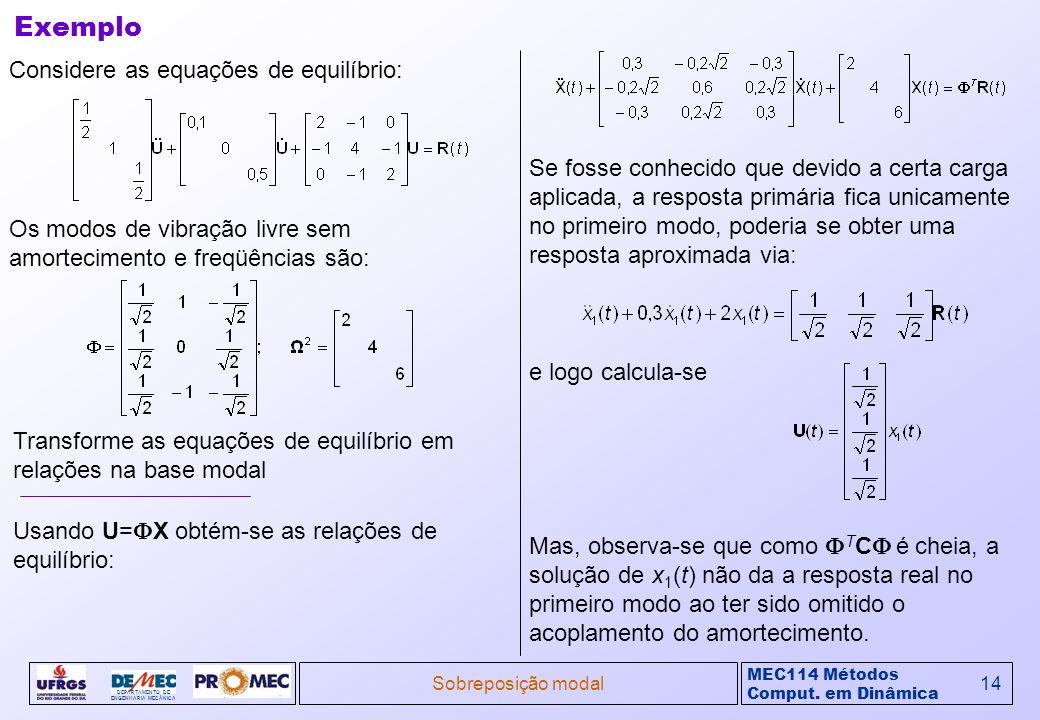 Exemplo Considere as equações de equilíbrio: