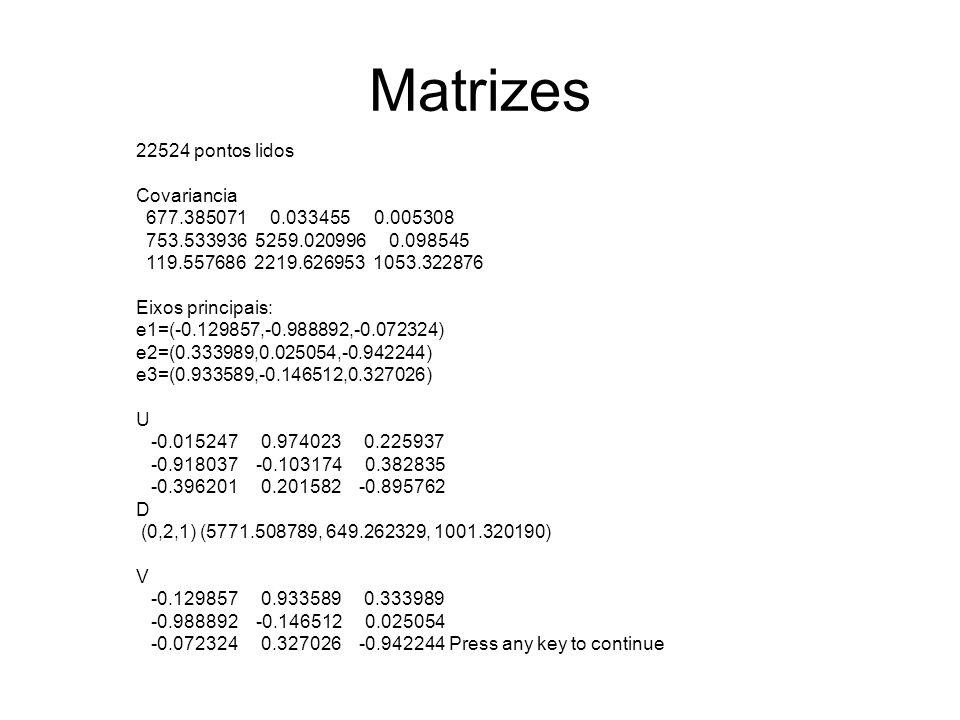 Matrizes 22524 pontos lidos Covariancia 677.385071 0.033455 0.005308