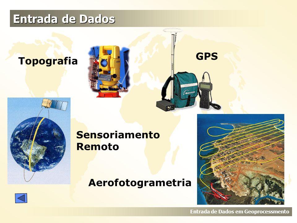 Entrada de Dados GPS Topografia Sensoriamento Remoto Aerofotogrametria