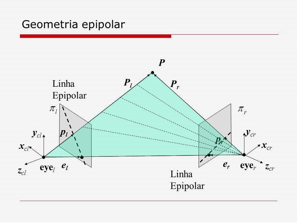 Geometria epipolar P Pl Linha Epipolar Pr ycr ycl pl pr xcr xcl er el