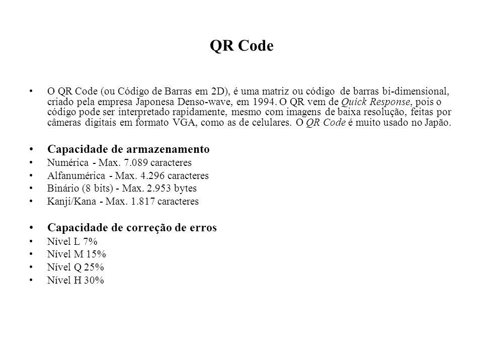 QR Code Capacidade de armazenamento Capacidade de correção de erros