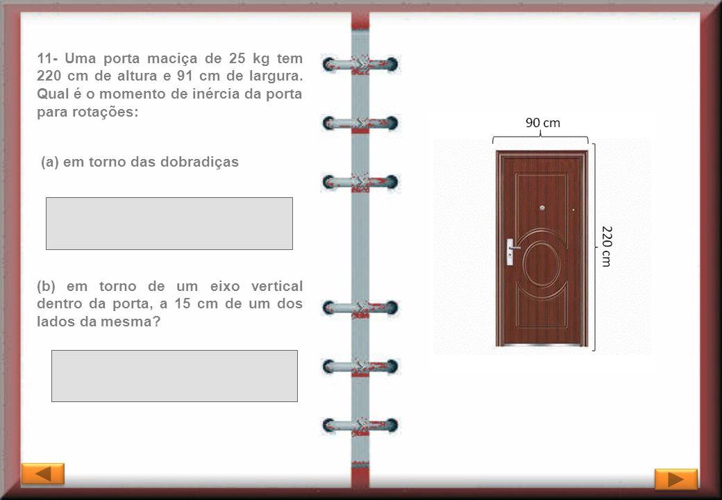 11- Uma porta maciça de 25 kg tem 220 cm de altura e 91 cm de largura