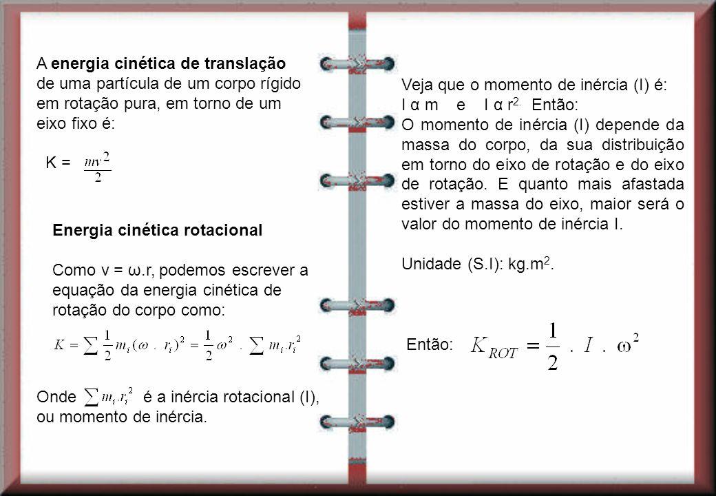 Veja que o momento de inércia (I) é: I α m e I α r2. Então: