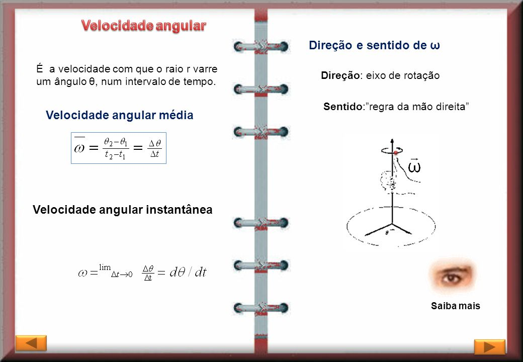 Velocidade angular Direção e sentido de ω Velocidade angular média