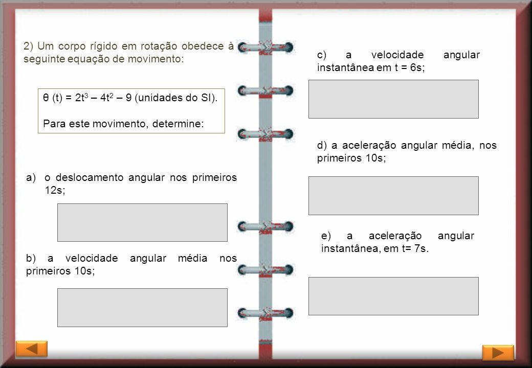 2) Um corpo rígido em rotação obedece à seguinte equação de movimento: