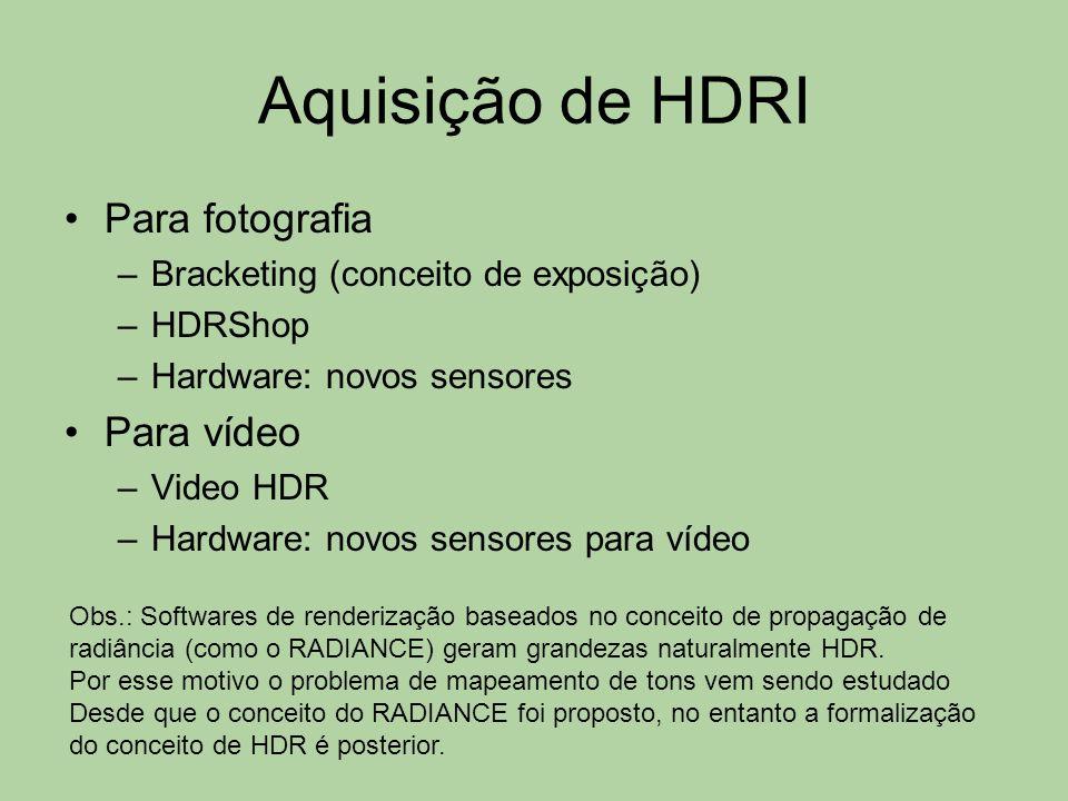 Aquisição de HDRI Para fotografia Para vídeo
