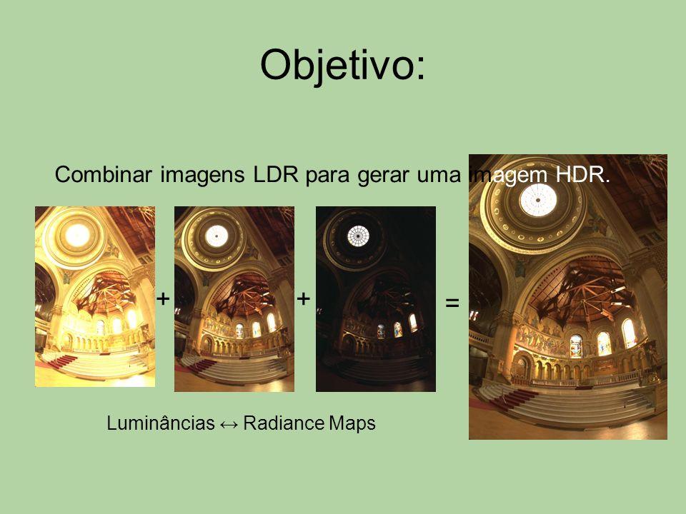 Objetivo: + + = Combinar imagens LDR para gerar uma imagem HDR.