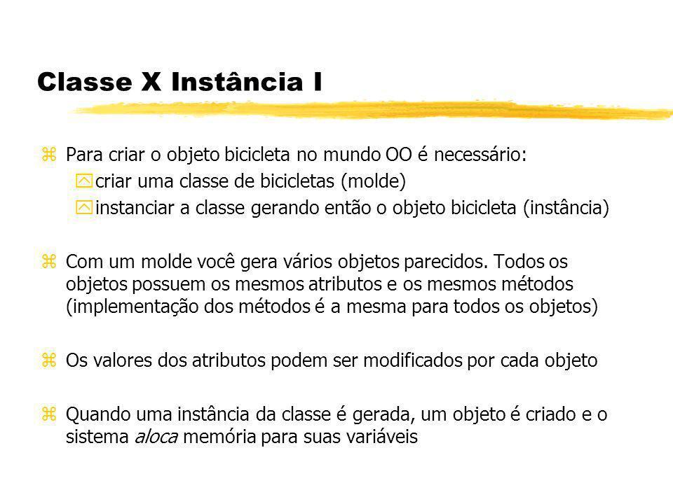 Classe X Instância I Para criar o objeto bicicleta no mundo OO é necessário: criar uma classe de bicicletas (molde)