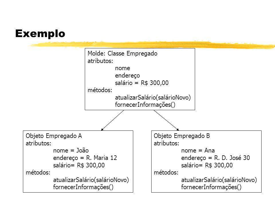 Exemplo Molde: Classe Empregado atributos: nome endereço